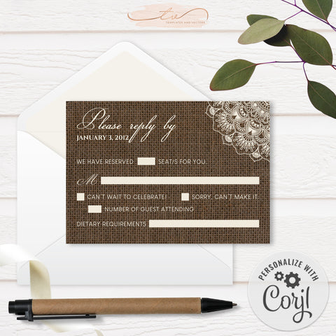 TVW201 Filipiniana Lace on Burlap Wedding RSVP (Edit Yourself at Corjl)
