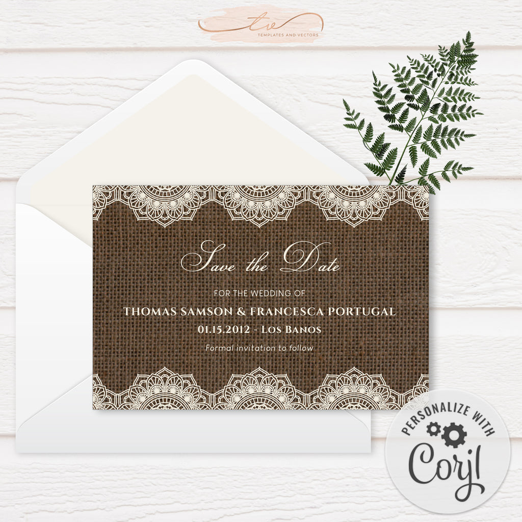 TVW201 Filipiniana Lace on Burlap Wedding Save-the-Date (Edit Yourself at Corjl)