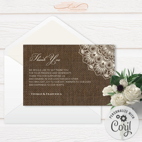 TVW201 Filipiniana Lace on Burlap Wedding Thank You (Edit Yourself at Corjl)