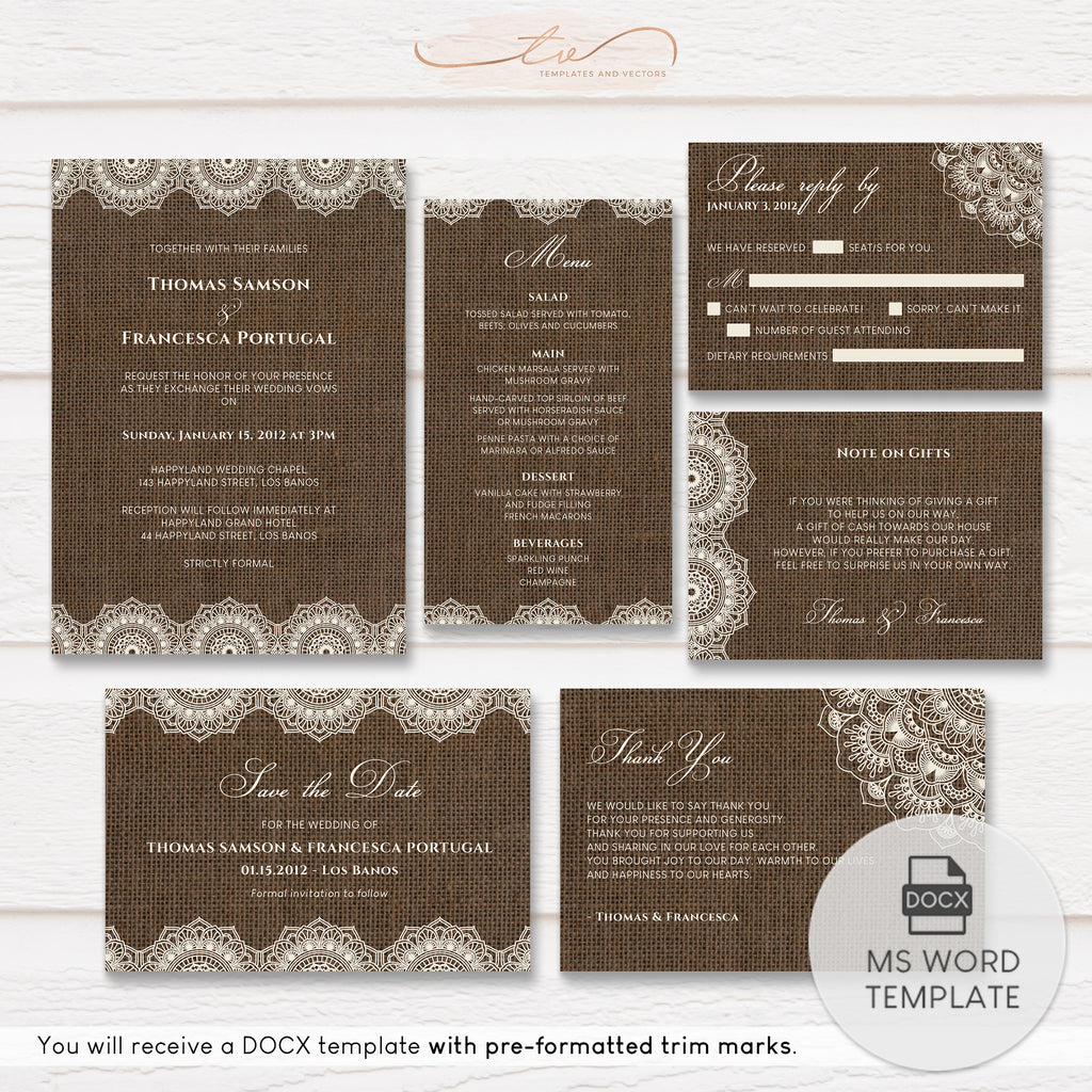 TVW201 Filipiniana Lace on Burlap Wedding Suite Template