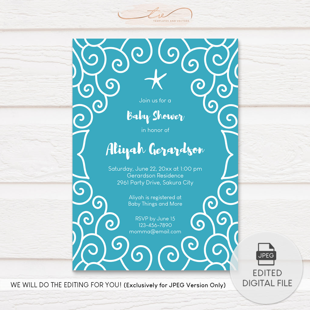 TVY196 Under the Sea Doodle Frame Baby Shower Invitation Template