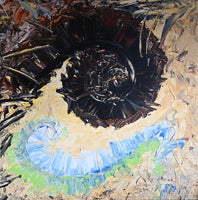 Shells, Spirals and Lake Life, 36x36 inch abstract painting.
