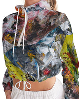 Stitched Paintings #2 Hoodie Women's Cropped Windbreaker - David Austin Gallery