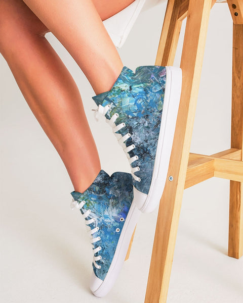 """Day At The Beach""  Women's Hightop Canvas Shoe"