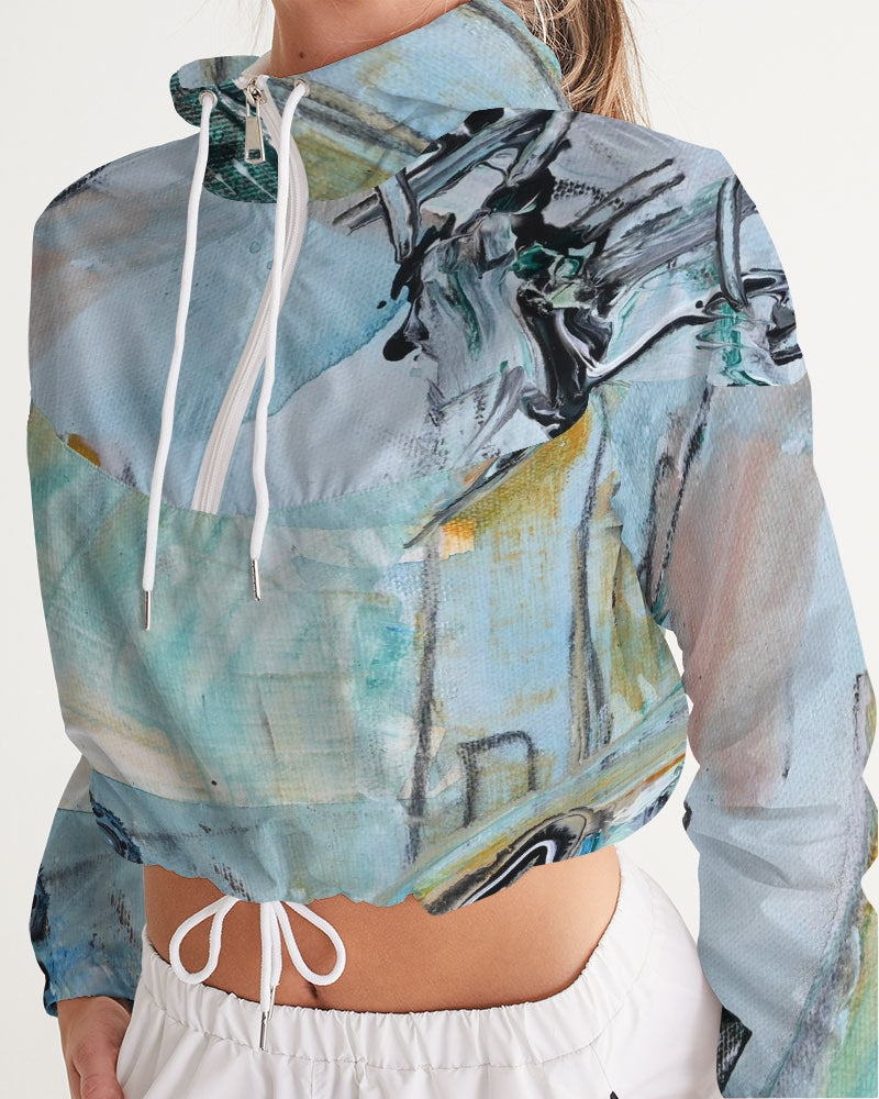 """Teal Mountain's"" Women's Cropped Windbreaker - David Austin Gallery"