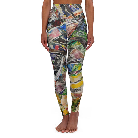 Collage Inspired High Waisted Yoga Leggings - David Austin Gallery