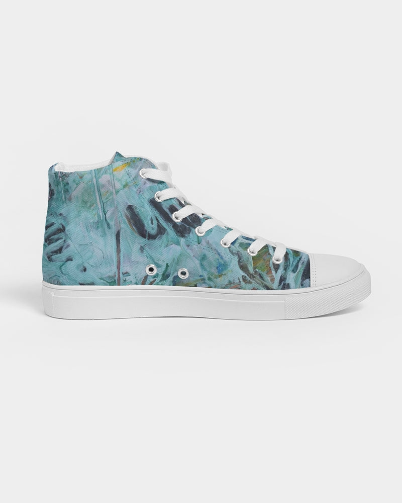 """Teal Running"" Women's Hightop Canvas Shoe - David Austin Gallery"