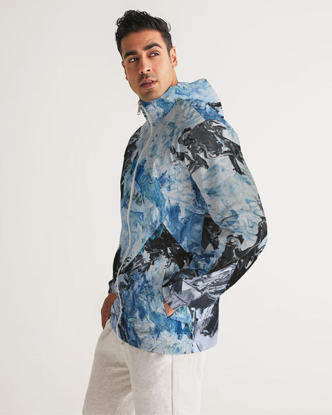 """Black and White and"" Men's Windbreaker - David Austin Gallery"