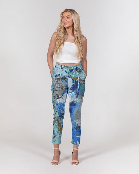 """Teal"" Women's Belted Tapered Pants - David Austin Gallery"