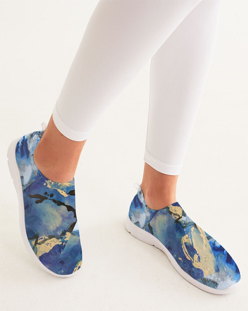 """Blue Water Lilies"" Women's Slip-On Flyknit Shoe - David Austin Gallery"