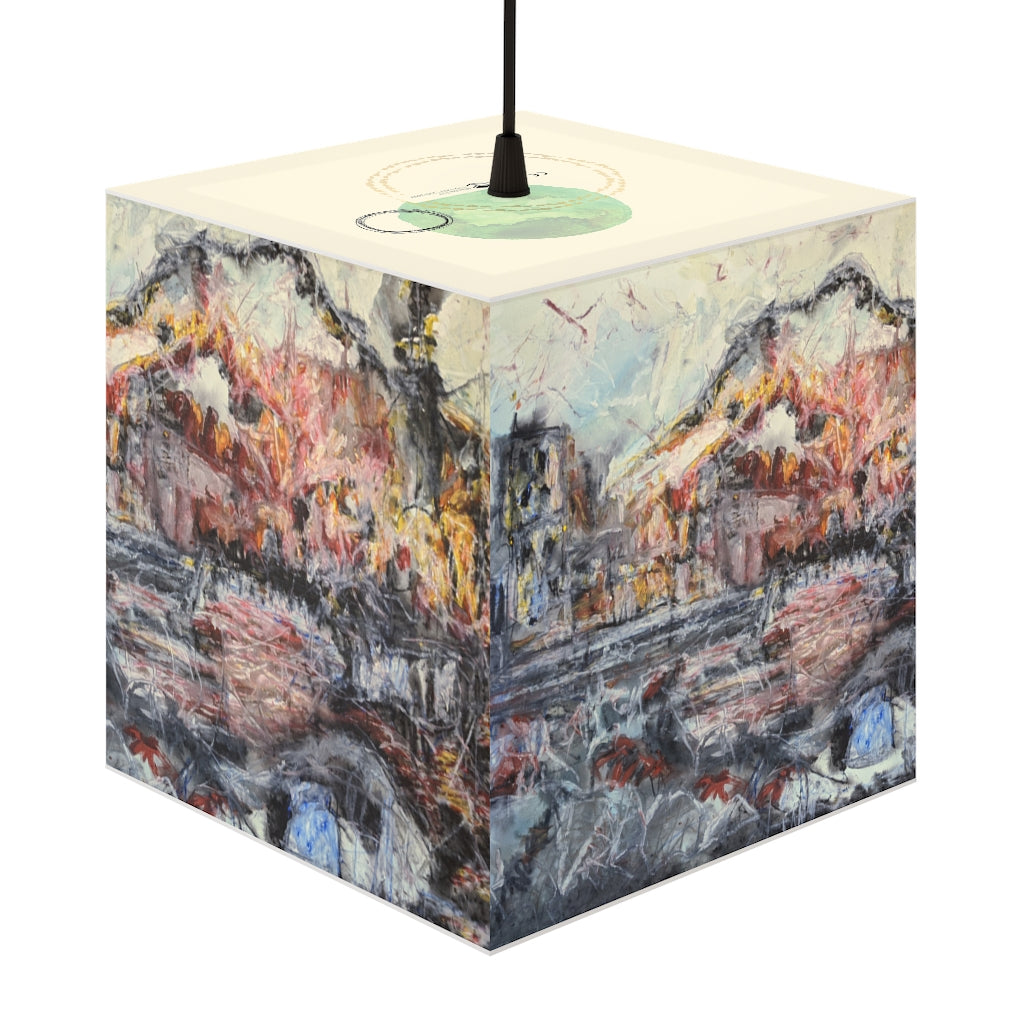 """A Sun Sets Under Construction"" Cube Lamp, Stackable, Pendant, 2 Sizes Available - David Austin Gallery"