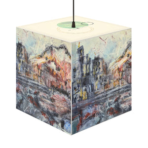 "Open image in slideshow, ""A Sun Sets Under Construction"" Cube Lamp, Stackable, Pendant, 2 Sizes Available - David Austin Gallery"