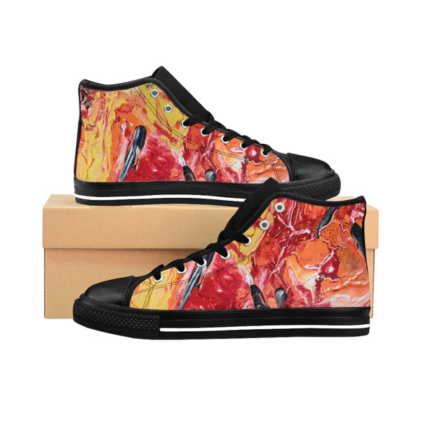 """Lava"" Canvas, Casual Men's High-top Sneakers Original Art by David K. Austin"