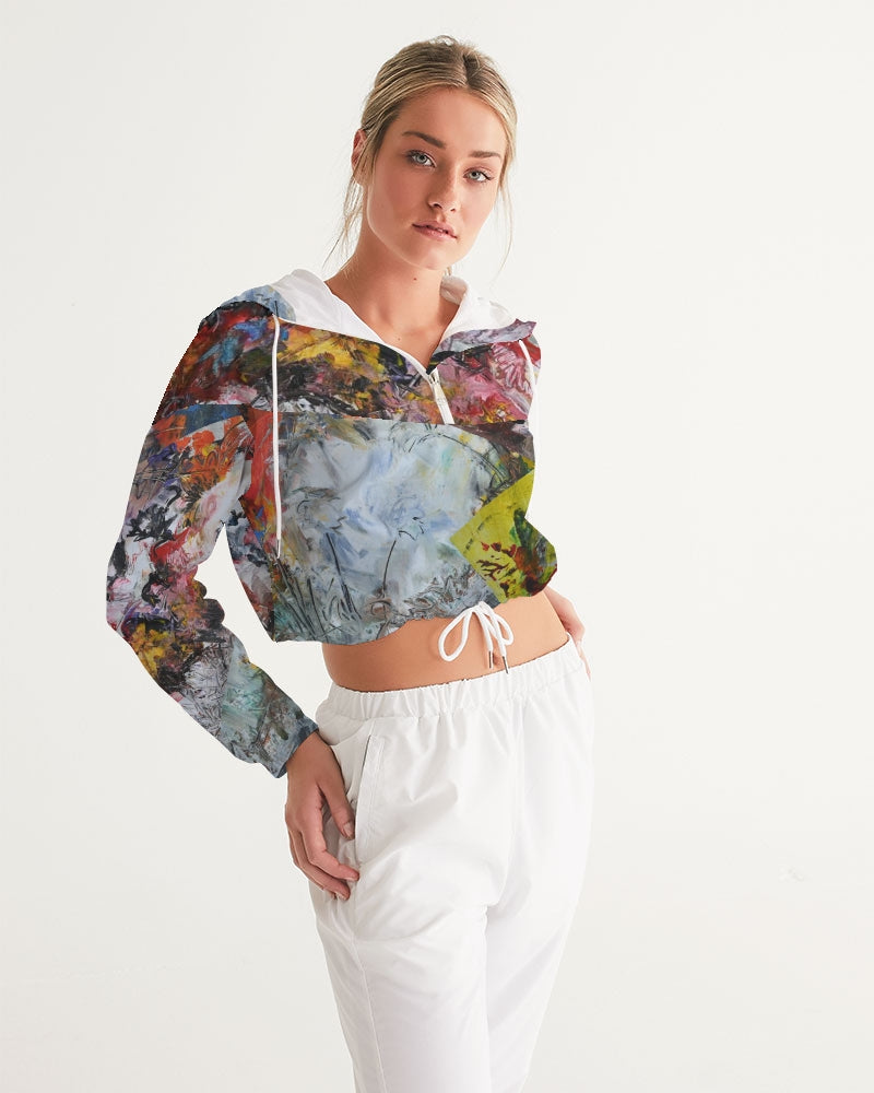 Stitched Paintings Cropped Windbreaker - David Austin Gallery