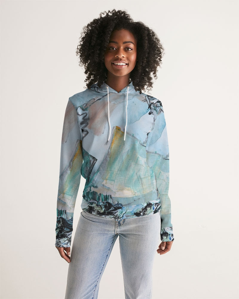 """Teal Mountains"" Women's Hoodie - David Austin Gallery"