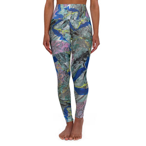"Open image in slideshow, ""Leopard In Pink"" High Waisted Yoga Leggings XS-2XL - David Austin Gallery"
