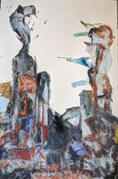 """City Structures in Stone I"" 26""X40"" Acrylic, Watercolor, Charcoal, Pastel on Cotton Paper Unmounted - David Austin Gallery"