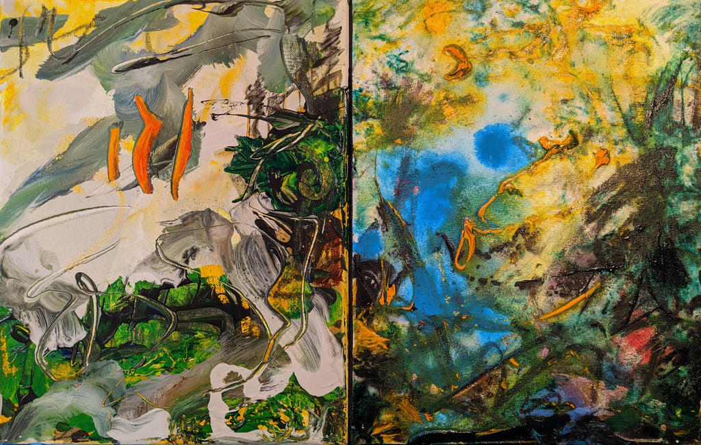 """Today's Couple"" 24""X18""X.75"" Two Panels Acrylic, Charcoal on Stretched Canvas - David Austin Gallery"