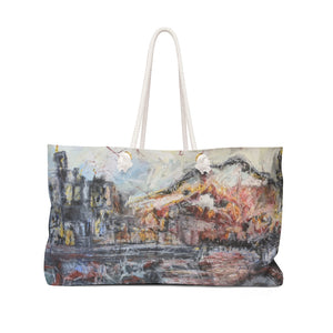 "Open image in slideshow, ""A Sun Sets Under Construction"" Weekender Bag - David Austin Gallery"