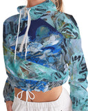 """Teal"" Women's Cropped Windbreaker - David Austin Gallery"
