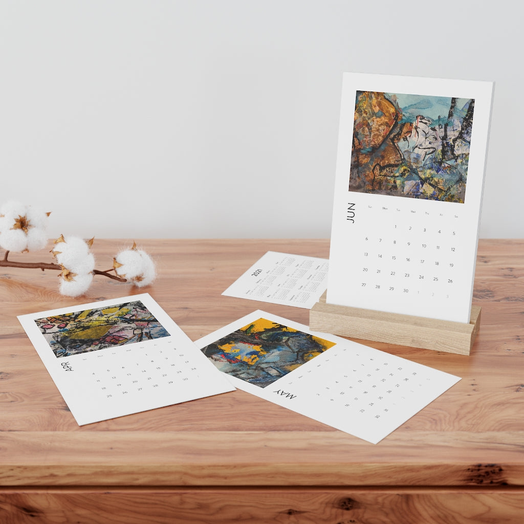 David K. Austin Vertical Desk Art Calendar in White Oak Stand - David Austin Gallery