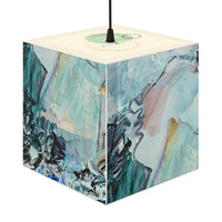 """Teal Mountains"" Cube Lamp, Stackable, Pendant, 2 Sizes Available - David Austin Gallery"