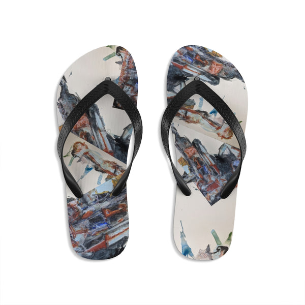 """City Structures In Stone I""Unisex Flip-Flops - David Austin Gallery"