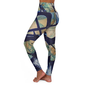Blue Homage High Waisted Yoga Leggings - David Austin Gallery