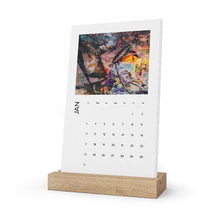 Open image in slideshow, David K. Austin Vertical Desk Art Calendar in White Oak Stand - David Austin Gallery