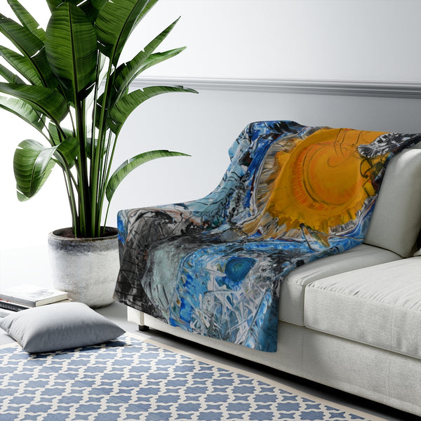 A Burst of Sun Large, Heavy Weight Sherpa Fleece Blanket