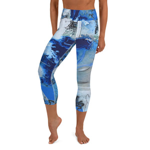 "Open image in slideshow, Yoga Capri Leggings ""Blue Lilly"" - David Austin Gallery"