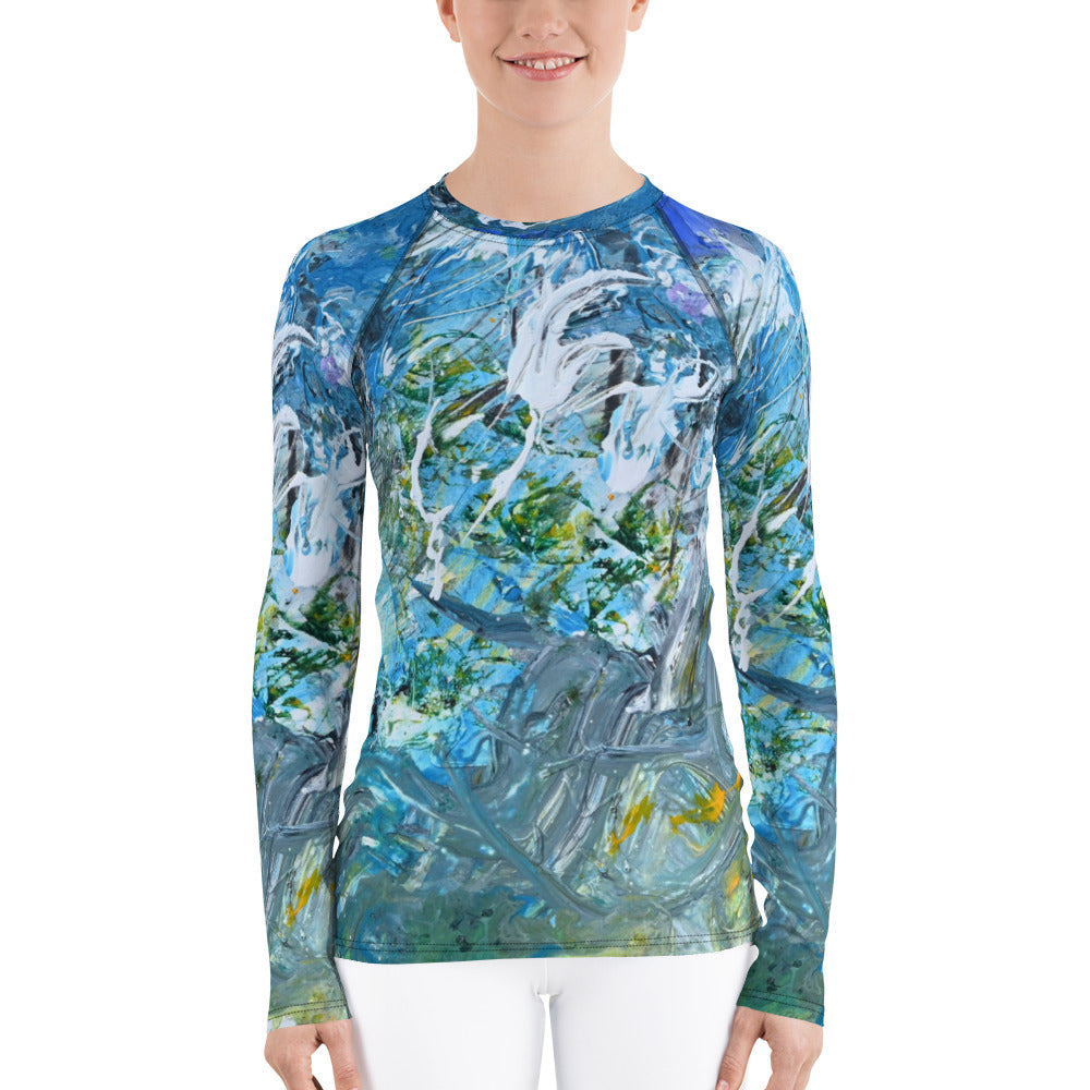 """Day at the Beach"" Women's Rash Guard UV Blocking Long Sleeve T-Shirt - David Austin Gallery"