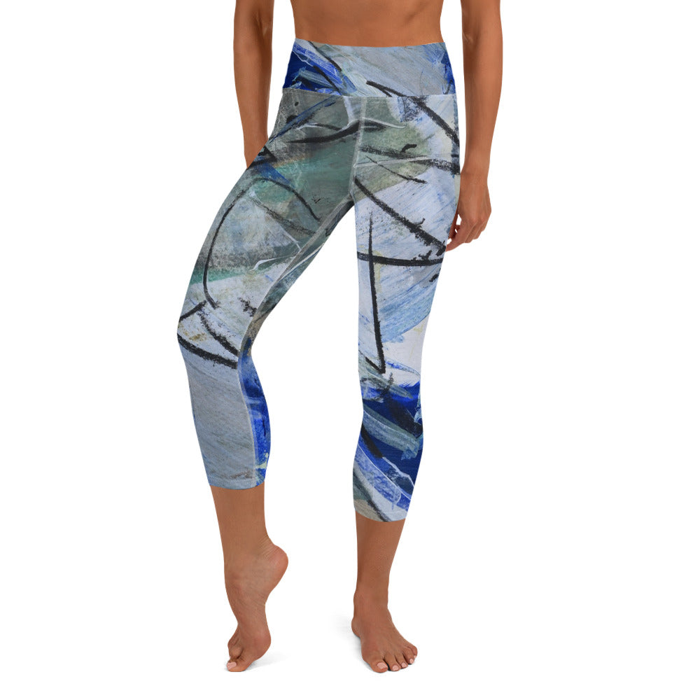"""Lake"" Yoga Capri Leggings - David Austin Gallery"