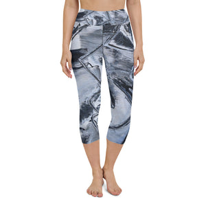 "Open image in slideshow, ""Black and White and...."" Yoga Capri Leggings - David Austin Gallery"