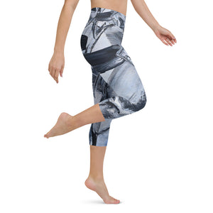 """Black and White and...."" Yoga Capri Leggings - David Austin Gallery"