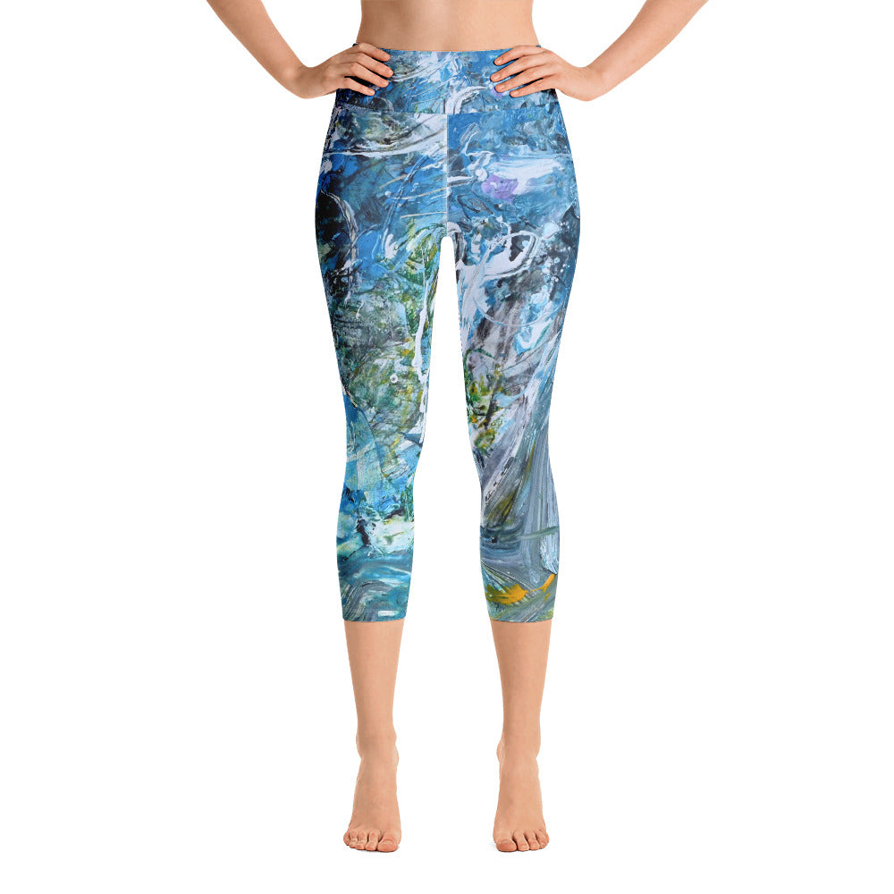 """Day at the Beach"" Yoga Capri Leggings - David Austin Gallery"