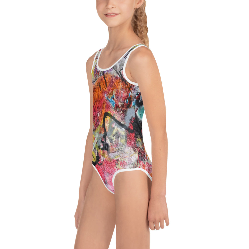 """Party"" All-Over Print Kids Swimsuit - David Austin Gallery"