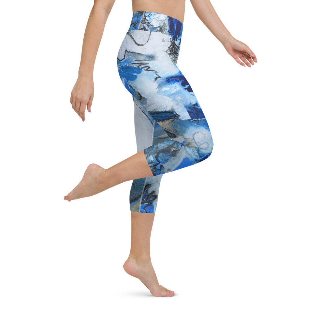 """Blue Water Lillies"" Yoga Capri Leggings - David Austin Gallery"