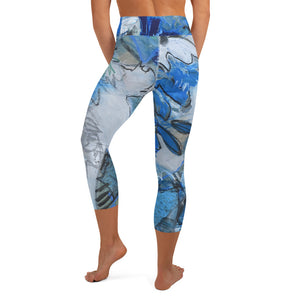 "Yoga Capri Leggings ""Blue Lilly"" - David Austin Gallery"