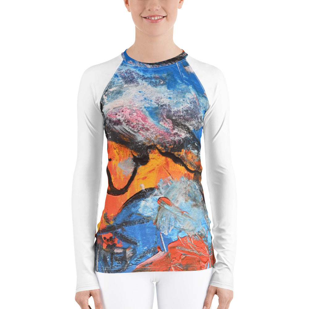 """Sunrise"" Women's Rash Guard UV Blocking Shirt - David Austin Gallery"