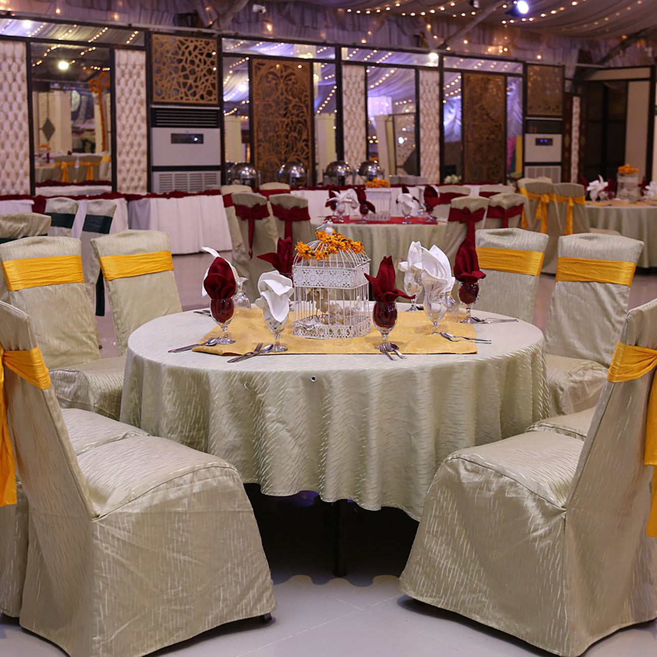 Decorated table in a banquet hall
