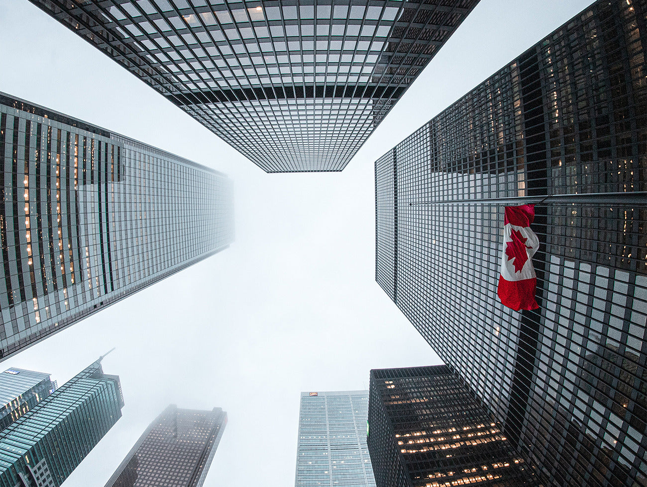 Exterior of buildings with the canadian flag