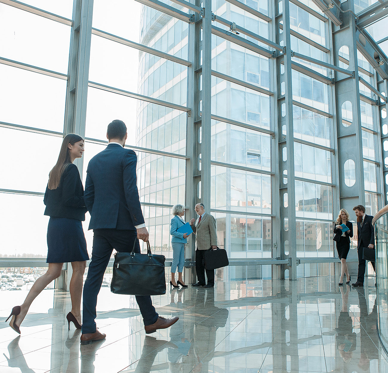 Business workers walking around the office