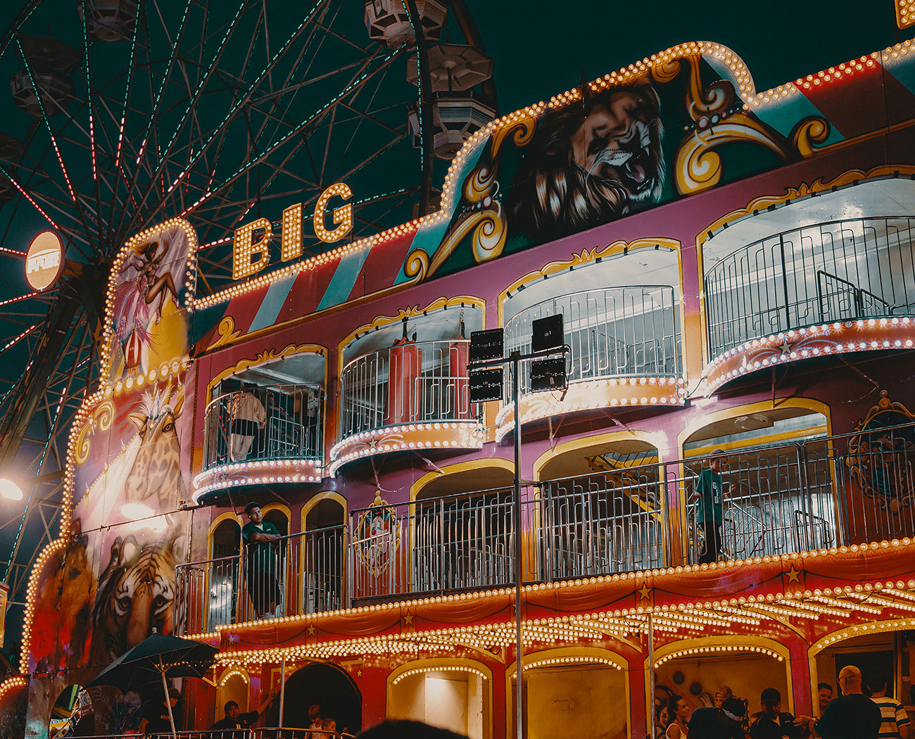Funhouse lit up at night