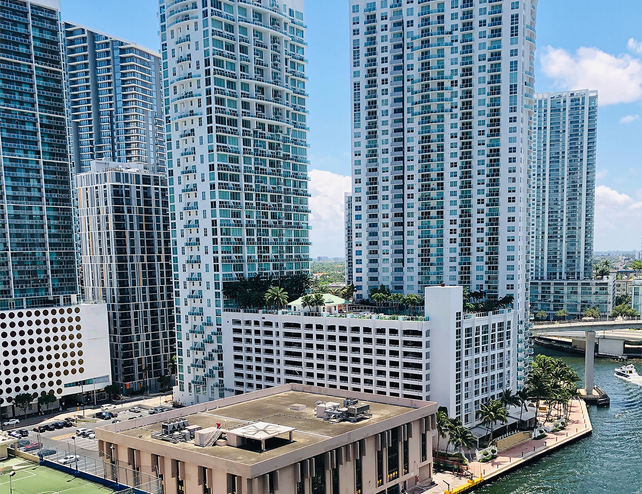Apartment buildings and condominiums by the water