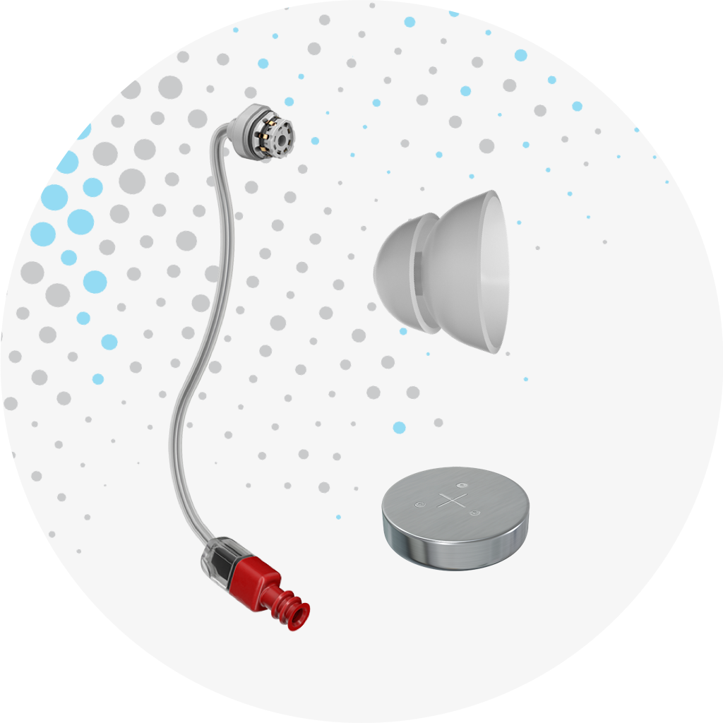 Image of a Receiver, a dome, and a battery with sound dot branding dots behind on a white background