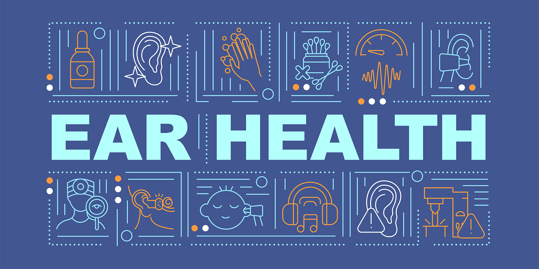 Decorative Illustration with Ear Health typed out and related icons