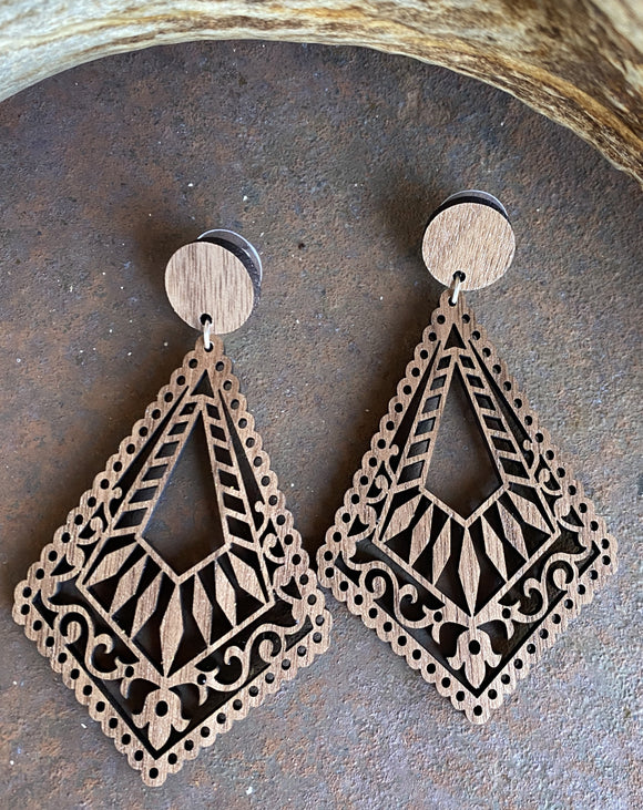 Julia Lasercut Wood Earrings
