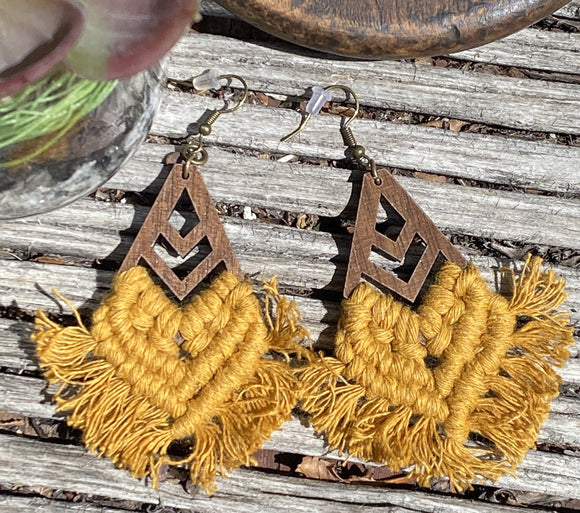 Sandy Macrame Earrings in Golden Mustard