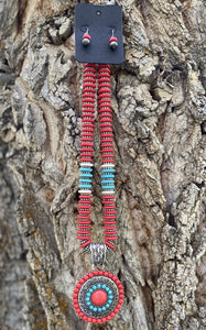 Turquoise and Red Disc Bead Set